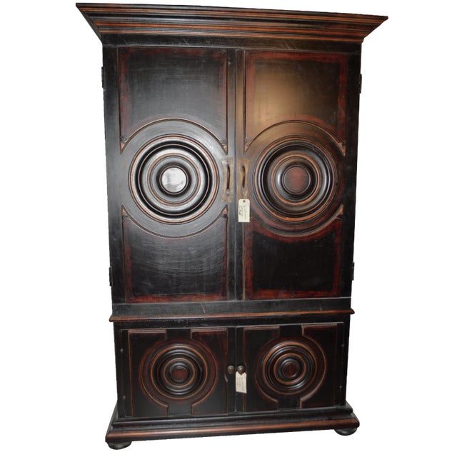 Vintage Circle Motif Wood Armoire - Image 1 of 7