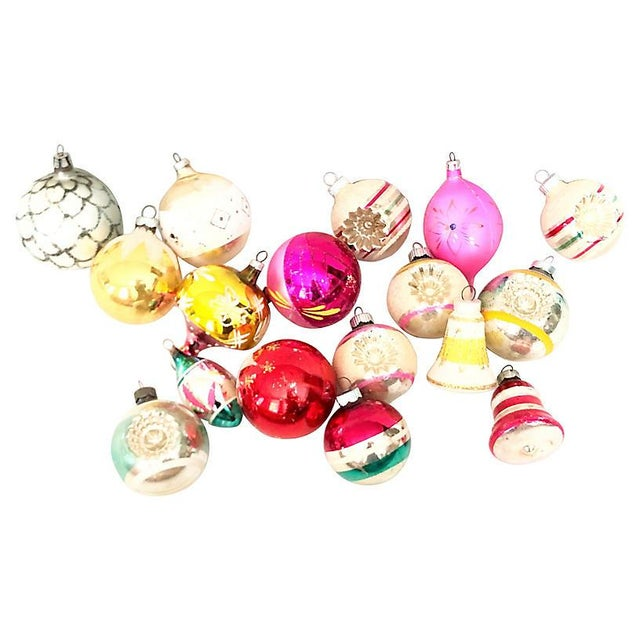 1960s Vintage Glass Ornaments - Set of 17 For Sale - Image 4 of 4