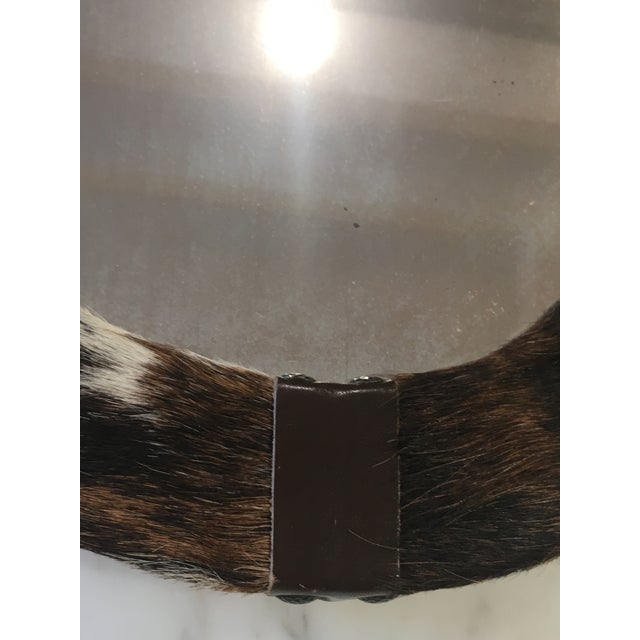 Brown & White Animal Cow Hide & Leather Oval Wall Mirror For Sale In Los Angeles - Image 6 of 7