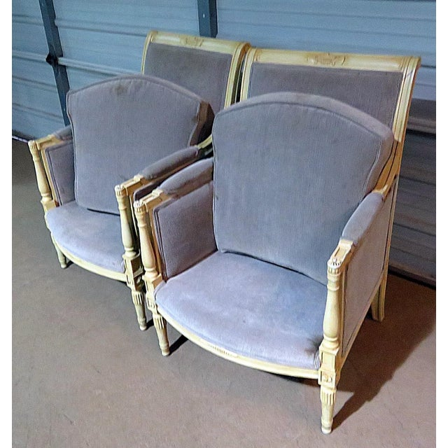White Directoire Style Upholstered Bergeres - a Pair For Sale - Image 8 of 12