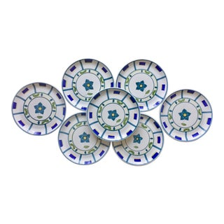 7 Hand-Painted Italian Faience Chargers For Sale