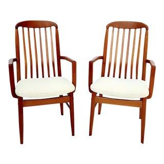 1960s Danish Modern Benny Linden Walnut Arm Chairs - a Pair