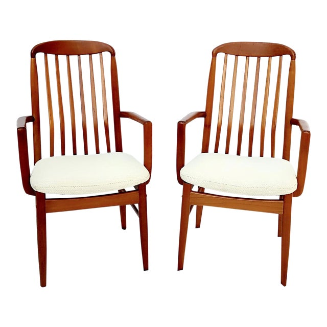 1960s Danish Modern Benny Linden Walnut Arm Chairs - a Pair For Sale