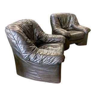 1970s Vintage DeSede Leather Lounge Chairs - a Pair For Sale