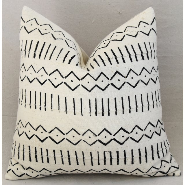 Fabric Boho-Chic Mali Mud Cloth Tribal Design Pattern Pillows - A Pair For Sale - Image 7 of 10