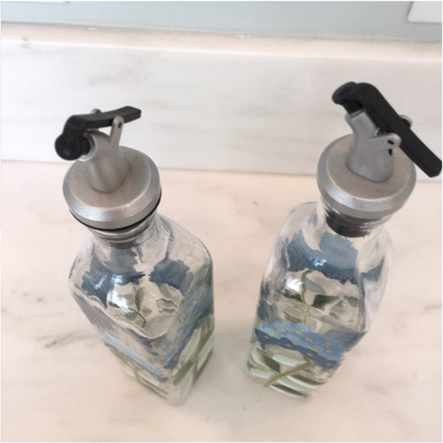 French Hand Painted Oil Vinegar Set & Salt Pepper Shakers - 4 Pieces For Sale - Image 3 of 6