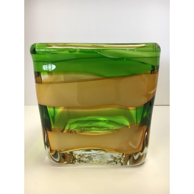 Mod signed Waterford Evolution square vessel. Vibrant colors throughout.