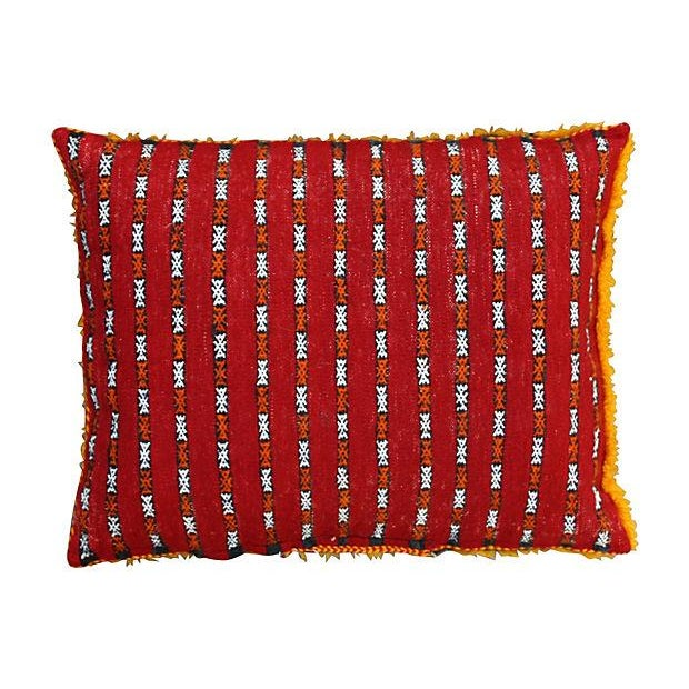 Abstract Expressionism Orange Grid & Sequins Berber Pillow II For Sale - Image 3 of 3