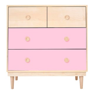 Lukka Modern Kids 4-Drawer Dresser in Maple With Pink Finish For Sale