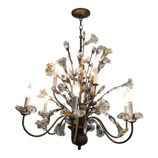Vintage Gold Glass and Crystal Nine Light Chandelier For Sale