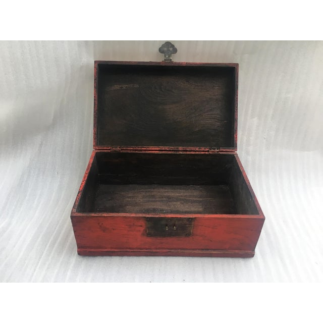 Antique Chinese Red Lacquer Box For Sale - Image 11 of 11