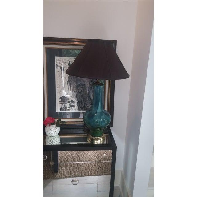 Mid Century Turquoise Drip Glaze Lamp - Image 6 of 7