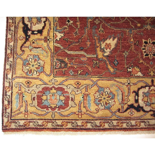 Traditional Geometric Indian Handwoven Serapi Rug- 4'2''×6' For Sale - Image 3 of 5