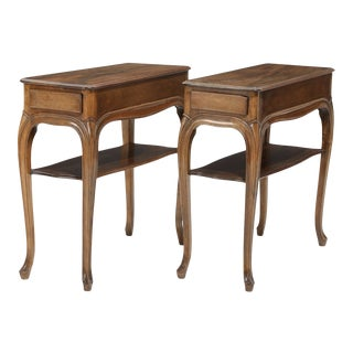 20th Century Rococo Style Walnut Side Tables - a Pair For Sale