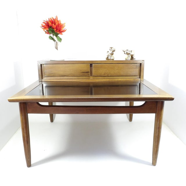 Beautiful 1950's American of Martinsville sectional divider table. Nice large surface with convenient drawers for your...
