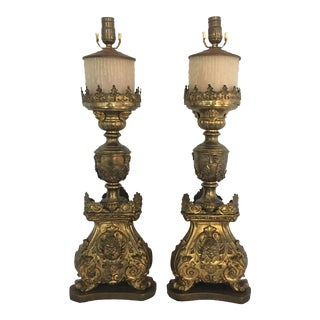 Antique Gilt Metal Pricket Sticks Table Lamps - a Pair For Sale