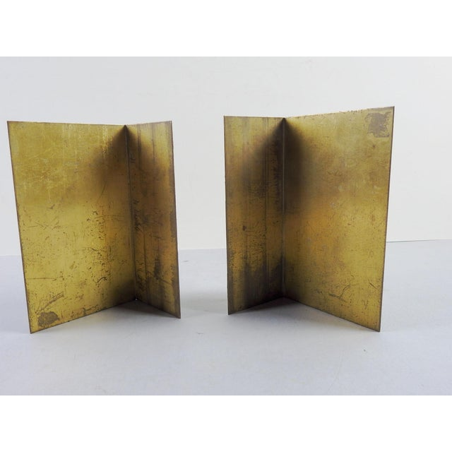 Brass Etched Classical Renaissance Design Bookends - A Pair For Sale - Image 4 of 5