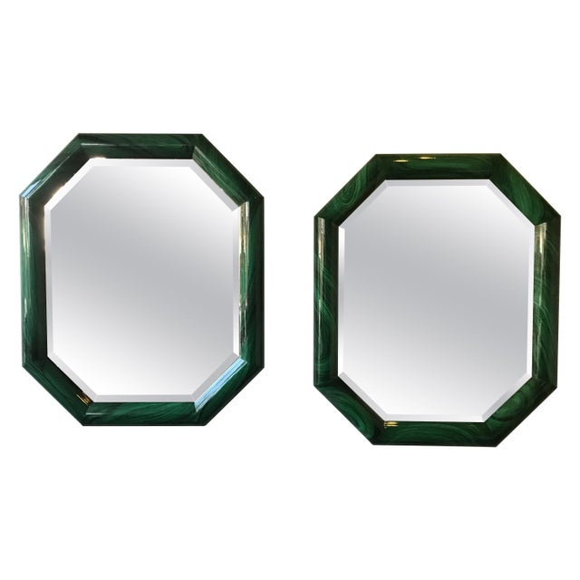 Large Pair of Italian 1970s Faux Malachite Beveled Mirrors For Sale - Image 13 of 13