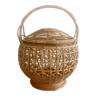 Round Basket With Lid & Handle
