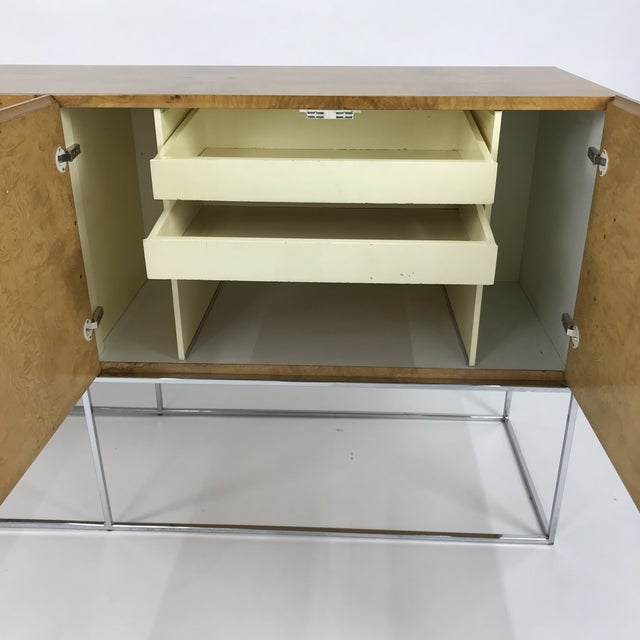 Olive Burl Credenza With Chrome Base Designed by Milo Baughman for Thayer Coggin For Sale - Image 6 of 13
