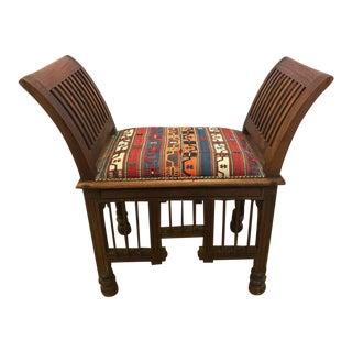 Teak and Kilim Upholstered Curule Bench Settee