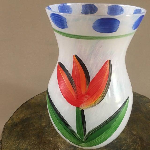 2000s Scandinavian Modern Kosta Boda Handpainted Tulipa Vase For Sale - Image 5 of 10
