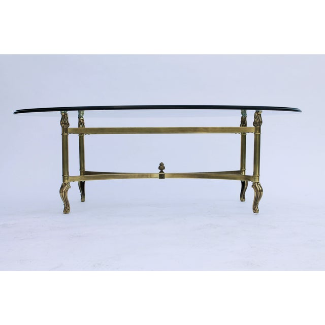 Oval Brass & Glass Coffee Table - Image 3 of 7