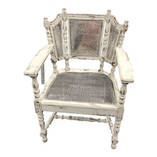 Antique Cane & Wood Armchair For Sale