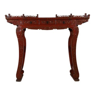 Chinese Antique Carved Red Lacquered Altar Table For Sale