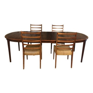 Danish Modern Rosewood Dinning Table by Svegards Markaryd With Extensions and Chairs For Sale
