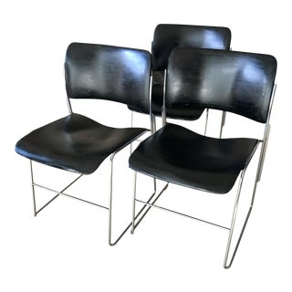 Mid Century Dining Chairs Metal Stacking David Rowland S/3 For Sale