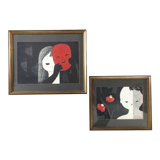 Vintage Mid Century Framed Art by Kaoru Kawano- A Pair For Sale