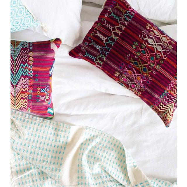 Vintage Guatemalan Red & Pink Striped Pillow - Image 4 of 6