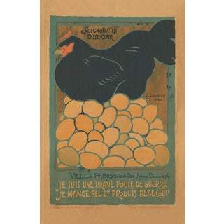 Vintage Chicken French WWI Broadside Print For Sale