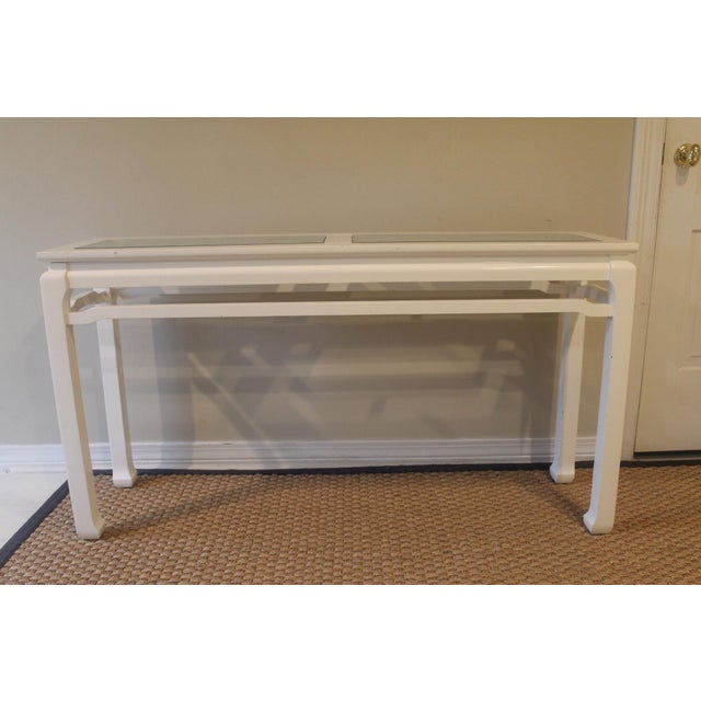 White Mid 20th Century Vintage White Ming Fret Work Console For Sale - Image 8 of 9