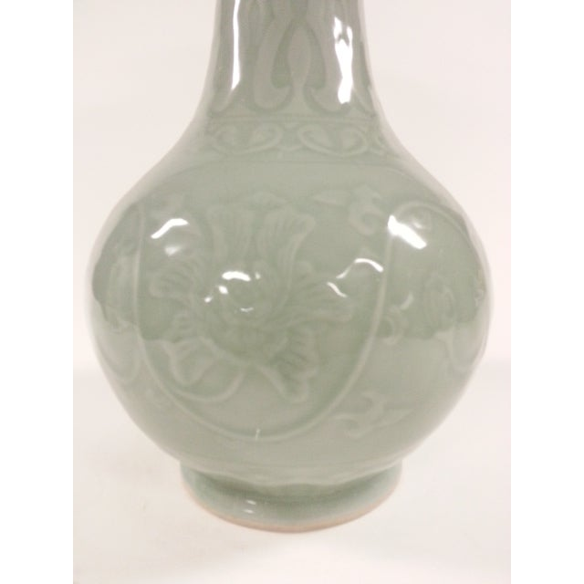 Floral Celadon Vases - A Pair - Image 5 of 6
