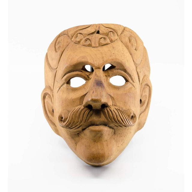 Oak Italian Wood Carved Decorative Male Masks - a Pair For Sale - Image 7 of 13