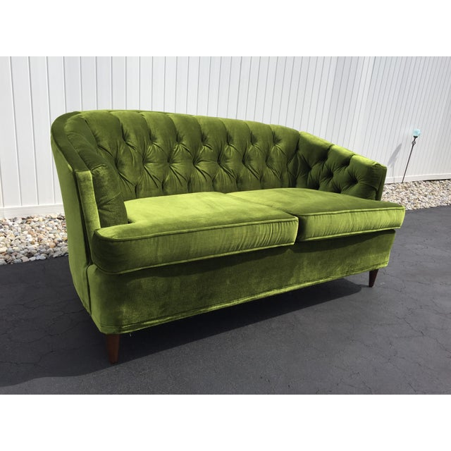 Outstanding Vintage Citation By Kroehler Green Velvet Loveseat Creativecarmelina Interior Chair Design Creativecarmelinacom
