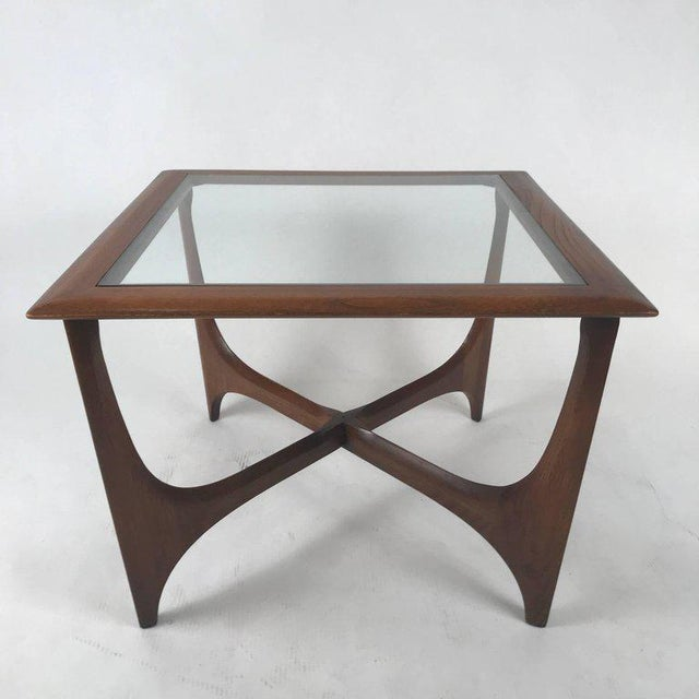 Mid-Century Modern Sculptural Midcentury Modern Walnut and Glass End or Side Table by Lane, 1967 For Sale - Image 3 of 7