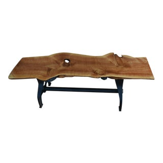 Rustic Custom Crafted Juniper Bench with Custom Cast Iron Legs For Sale
