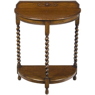 1920s Jacobean Oak Barley Twist Half Moon Demi Lune Hall Side Table For Sale