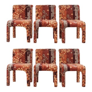 Set of 6 Dining Chairs in Jack Leonor Larsen Upholstery Fabric Postmodern Style For Sale