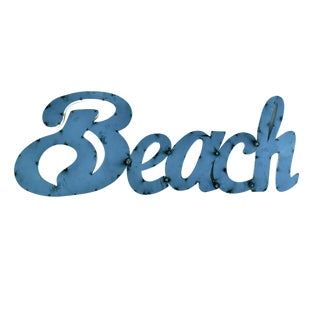 "Hand Crafted ""Beach"" Blue Metal Sign For Sale"