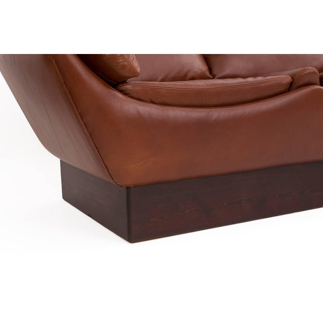 Sculptural Danish Leather & Down Sofa For Sale - Image 4 of 7