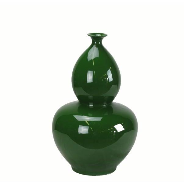 2010s Asian Modern Green Bottle Gourd Porcelain Vase For Sale - Image 5 of 5