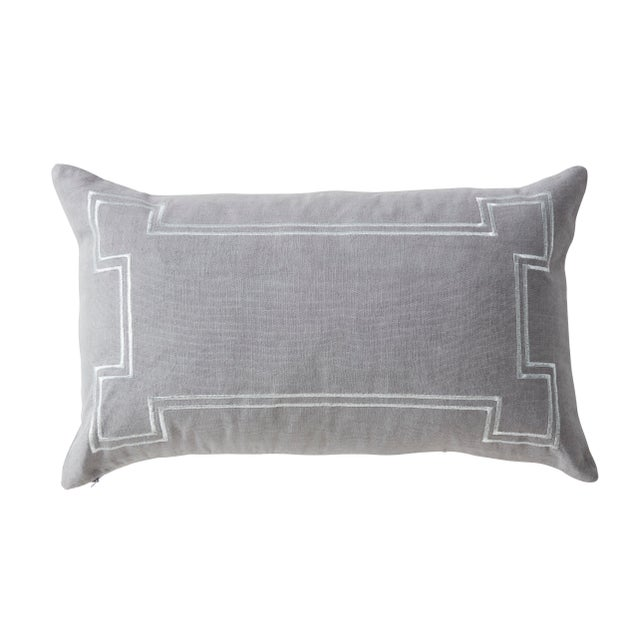 The Aria linen lumbar pillow in grey has gold metallic embroidered accenting. This pillow is brand new and comes complete...