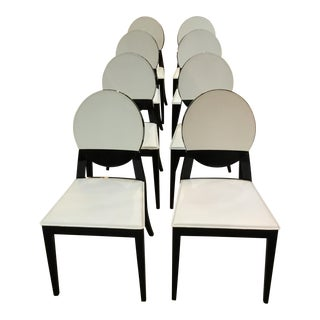Modern Calligaris White Leather Dining Chairs - Set of 8