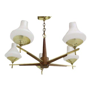 Danish Mid-Century Modern Light Fixture Chandelier 5 Frosted Glass Shades For Sale