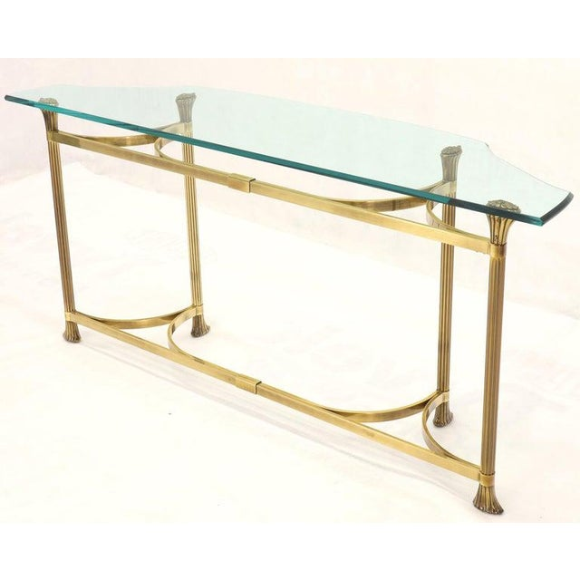 Bent Brass Base Curved Glass Top Figural Console Sofa Table For Sale - Image 4 of 13