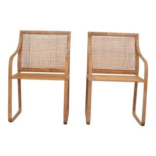 1970s Mid-Century Modern Harvey Probber Woven Rattan Arm Chairs - a Pair